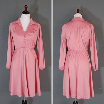 Vintage 1970's Dress / Sears / Pink Mauve / Size 12 Petite / Pleated