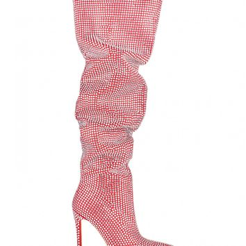 Good Life Diamante Embellished Thigh High Slouch Boots In Red Faux Suede