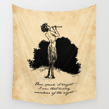 Shakespeare - A Midsummer Night's Dream - Puck Wall Tapestry by fivepennystudio