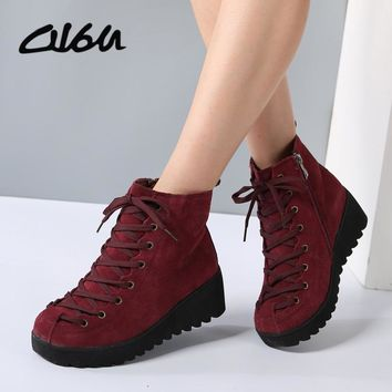 O16U Women Snow Ankle Motorcycle Boots Shoes Genuine Leather Lace Up ZIP Platform Wedge Ladies fur Boots Female Winter shoes