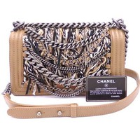 Auth CHANEL Boy Chanel Chain Shoulder Bag Brown/Black/White Leather/Wool e32349