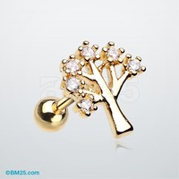 Golden Tree of Life Sparkle Cartilage Tragus Earring
