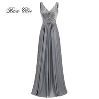 Women Sleeveless Sexy A-Line Halter Elegant Wedding Party Formal Gowns Long Evening Dress 2017