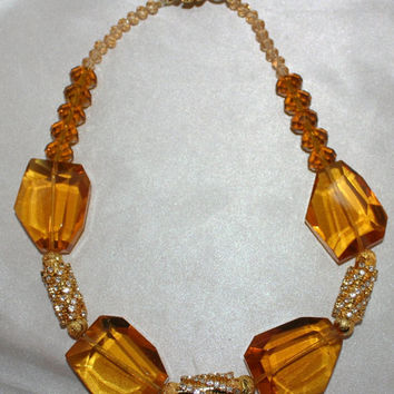Chunky Citrine Crystal Quartz Statement Necklace, Huge Topaz Crystal Nugget Jewelry, Big Bold Chunky Quartz Beads, Amber Wedding Jewelry