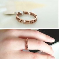 Giverchy Women Fashion Titanium Steel Plated Rose Gold Ring Jewelry