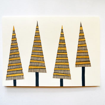 SET of 4 - Gold Holiday Cards - HAND PAINTED