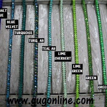 Fun Crystal Necklaces Handstrung at GUG in Blue and Greens