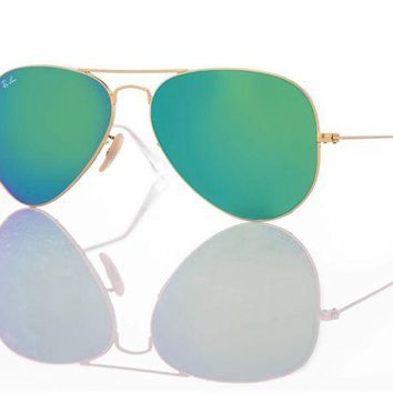 Kalete New Authentic Ray-Ban Sunglasses RB 3025 Aviator 112/19 Gold/Green Mirror 58mm