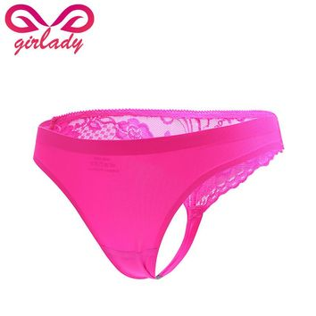 GIRLADY Seamless Women Lace Briefs Hot Mini Invisible Panties Female Sexy Slimming Low Waist Micro G-string Thong Satin Style