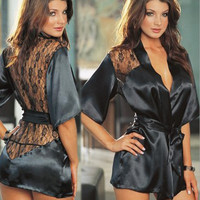 Women's lace sexy sleepwear bathrobes pajamas