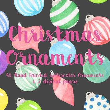 Christmas Ornaments Silver Cap Watercolor Clip Arts Digital Files Party Holiday Download printable Xmas ball digital papers pattern