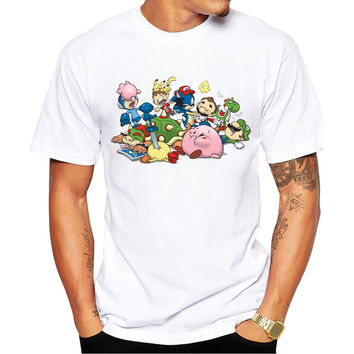 Super Smash Bros. Brawl Men's Short Sleeve Casual White T-Shirt