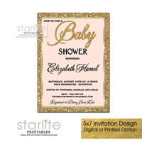 Blush Pink and Gold Baby Girl Shower Invitation, Glitter Frame, Vintage
