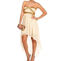 Taupe Sequin Trim Hi Low Dress