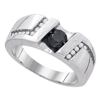 Sterling Silver Black Color Enhanced Round Channel-Set Diamond Mens Masculine Band Ring 1.03 Cttw