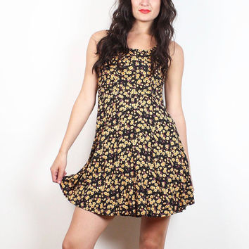 Vintage 90s Dress Black Gold Liberty Floral Print Micro Mini Dress Hipster 1990s Skater Dress Soft Grunge Ditsy Sundress XXS XS Extra Small