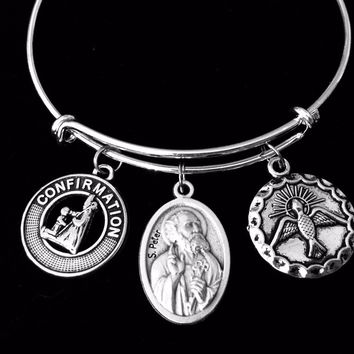 Confirmation Saint Peter Expandable Charm Bracelet Silver Adjustable bangle Medal Catholic Gift Dove