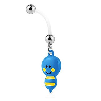 WildKlass Bumble bee Dangle Pregnancy Belly Rings Bioflex with 316L Surgical Steel Balls