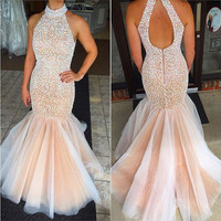 New Arrival Color Crystals Mermaid Long Prom Dresses 2016 High Neck Backless Evening Party Gown Abiye Vestido De Festa Longue