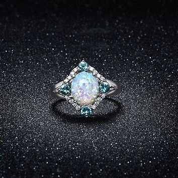 Aquamarine Opal Ring Set in 18K White Gold 925 Sterling Silver Unique Casual Rings