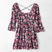 AEO FLORAL BELL SLEEVE BABYDOLL DRESS