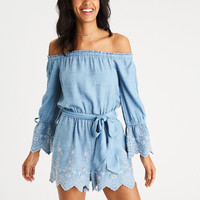 AEO Off-the-Shoulder Embroidered Chambray Romper, Blue