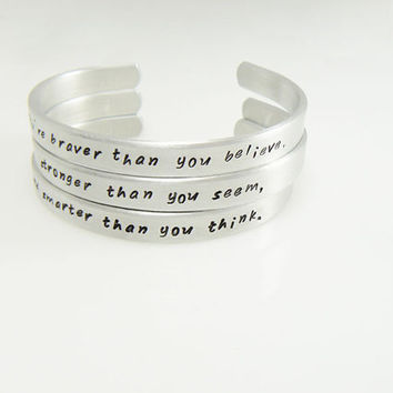 bracelets set of 3 hand stamped  personalized gift for a friend