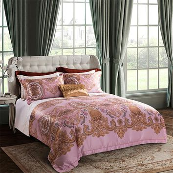 4/6Pcs 80S Egyptian Cotton Bohemia Luxury Bedding set Queen King size Duvet cover Bed Flat sheet set  Bedclothes  Pillowcase