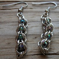Chainmail Earrings with Rainbow Beads | Cathy Creates - Handmade knit and crochet accessories and apparel