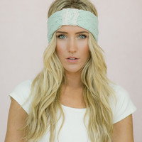Women's Knitted Headband Wide Spring Knit Ear Warmer with Vintage Lace Trim for Girls, Teens, and Women in Fresh Mint (HB-3013-2)