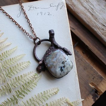 Ocean Jasper Twig Electroformed Copper Necklace