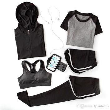 Women's Sports Set Autumn Winter Yoga Clothes Running Fitness Five-piece Suit 5 pcs / Set Polyester Material Sweat Quick-drying