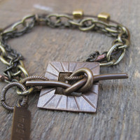 Leather and Brass Bracelet IMAGINE by CopperTreeArt on Etsy