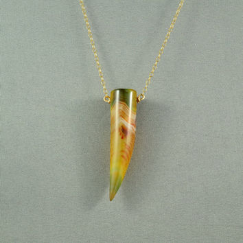 Beautiful Agate Tusk Pendant Necklace, Natural Stone Necklace, 14K Gold Filled Chain, Wonderful Jewelry