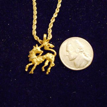 bling 14kt yellow gold plated fantasy mythical magic stonehenge fantasy legend folklore small full body unicorn pendant charm 24 inch rope chain hip hop trendy fashion necklace jewelry