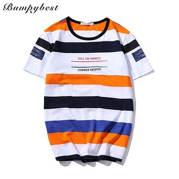 Summer New Fashion Clothing Letter Striped Slim Fit Short Sleeve Tee Shirts Men Casual T-Shirt