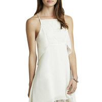Layered Square-Neck Short Dress in White - BCBGeneration