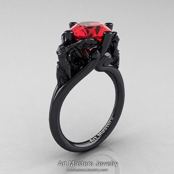 Art Masters Victory 14K Black Gold 3.0 Ct Ruby Nike of Samothrace Engagement Ring R617-14KBGR