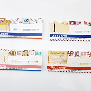 Yueton Pack of 4 Cute Funny Sticker Post-it Bookmark Marker Memo Flag Index Tab Sticky Notes