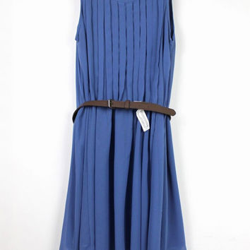 Blue Pleated Sleeveless Chiffon A-line Mini Dress with Belt