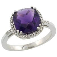 10K White Gold Diamond Natural Amethyst Ring Cushion-cut 9x9mm, size 10