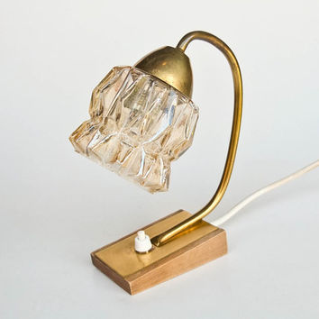 Vintage Wood And Brass Table Lamp / Desk Lamp / Bedside Lamp / 60's Yugoslavia