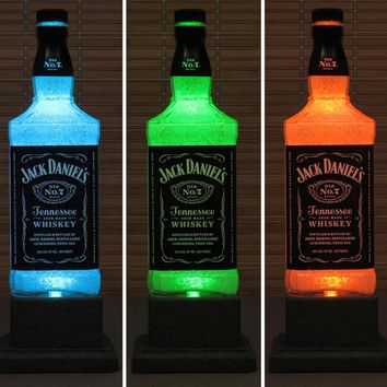 Jack Daniels Whiskey Color Changing LED Remote Controlled LED Bottle Lamp Bar Light Intense Sparkle-Bodacious Bottles-