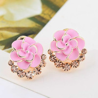 Hot Sale Fashion Women Lady Flower Rose Crystal Rhinestone Stud Earring Elegant Jewelry = 1958092100