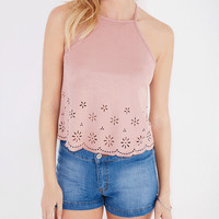 Faux Suede Crop Tank With Floral Cutouts | Wet Seal