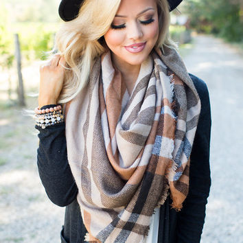 Keep Me Warm Blanket Scarf Camel
