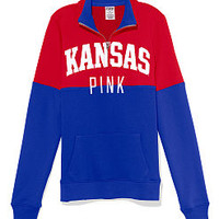 University of Kansas Colorblock Half Zip Pullover - PINK - Victoria's Secret