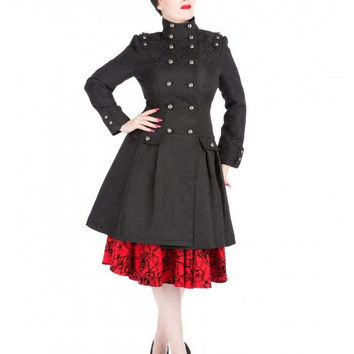 H & R Black Brocade Coat Vintage Style 50's Double Breasted Dress Coat 9190