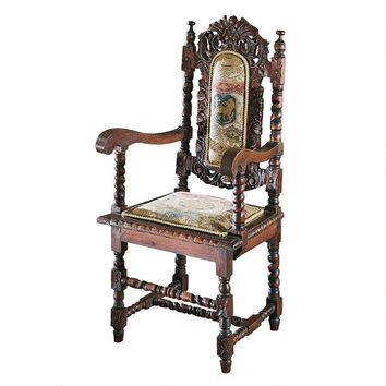Charles Royalty Coat of Arms Jacquard Tapestry Arm Chair 48H