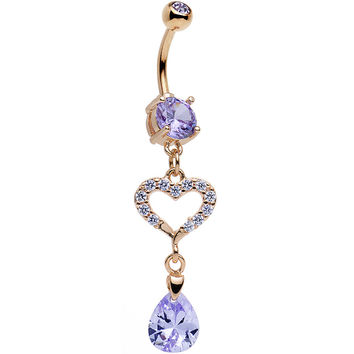 Tanzanite CZ Rose Gold Plated Drop of a Heart Dangle Belly Ring